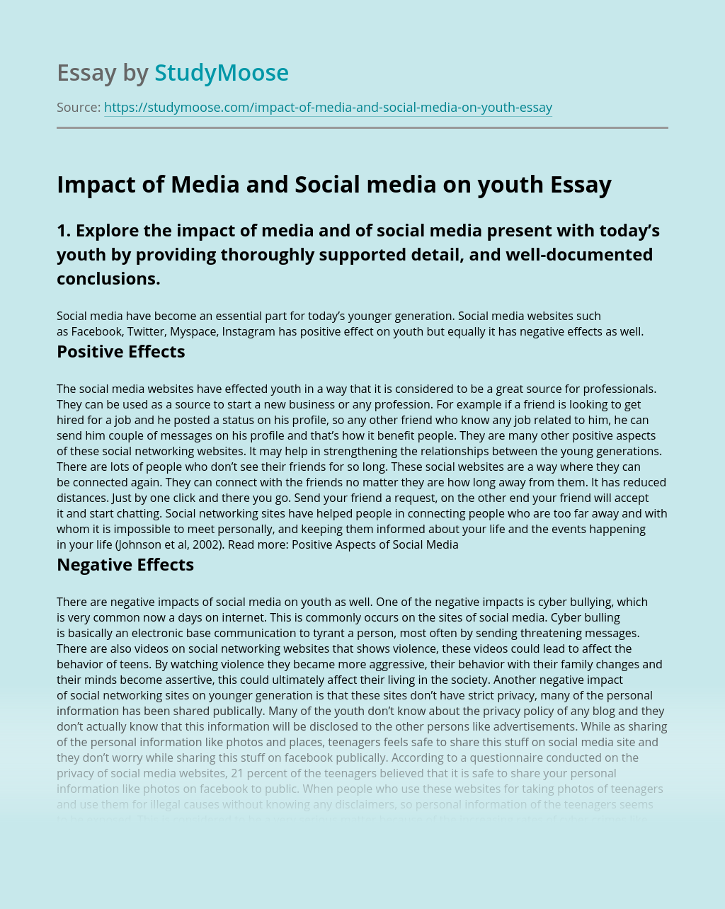Impact of Media and Social media on youth