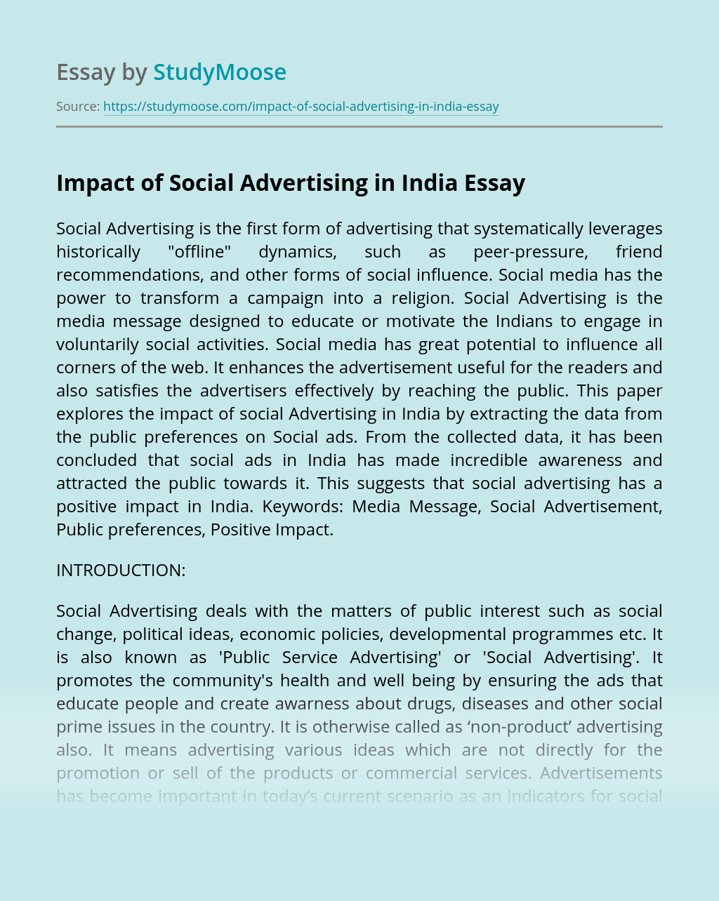 Impact of Social Advertising in India