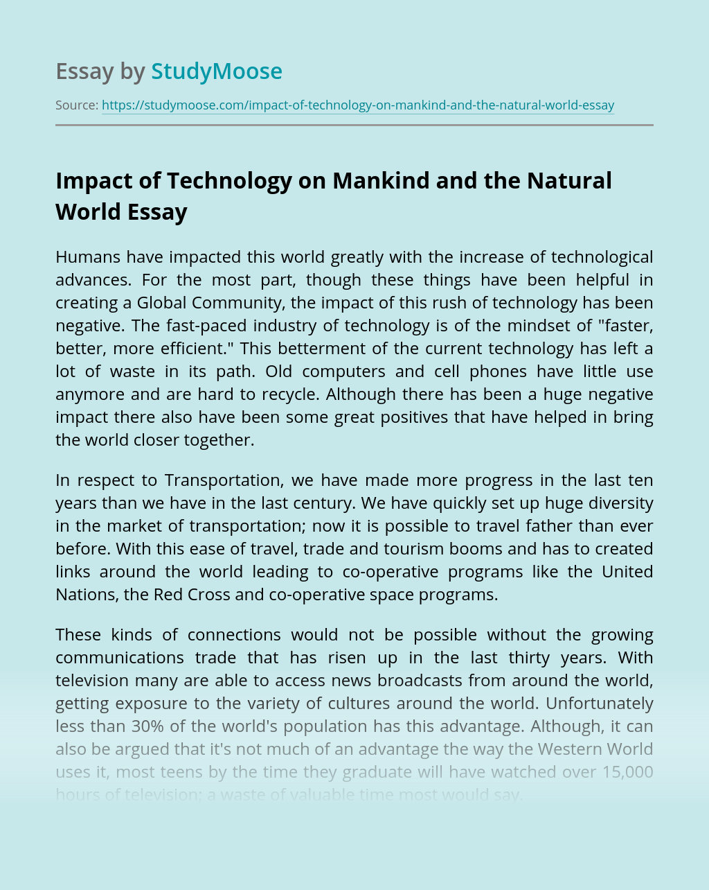 Impact of Technology on Mankind and the Natural World