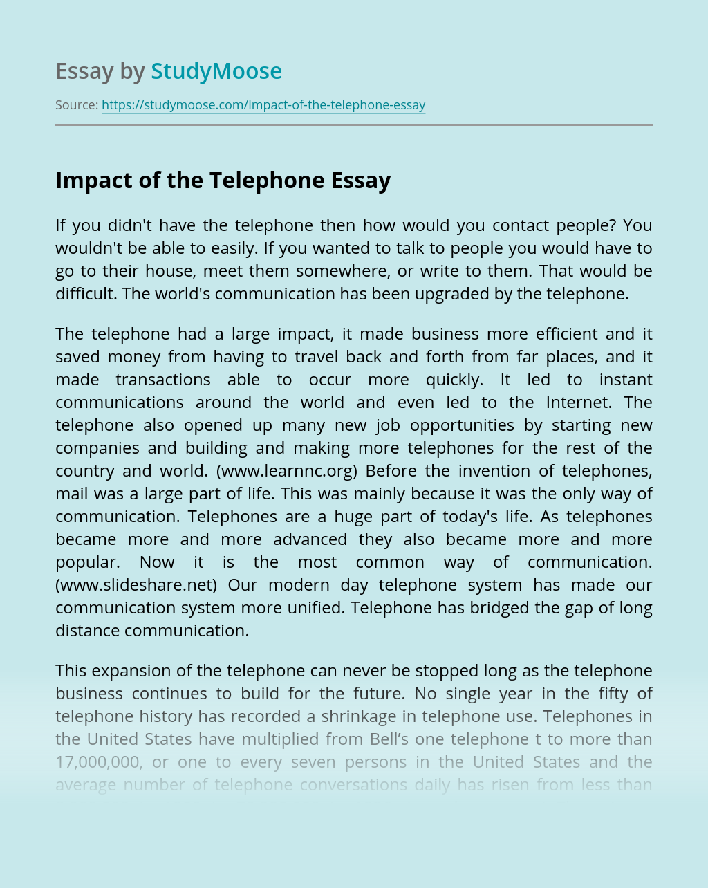 Impact of the Telephone