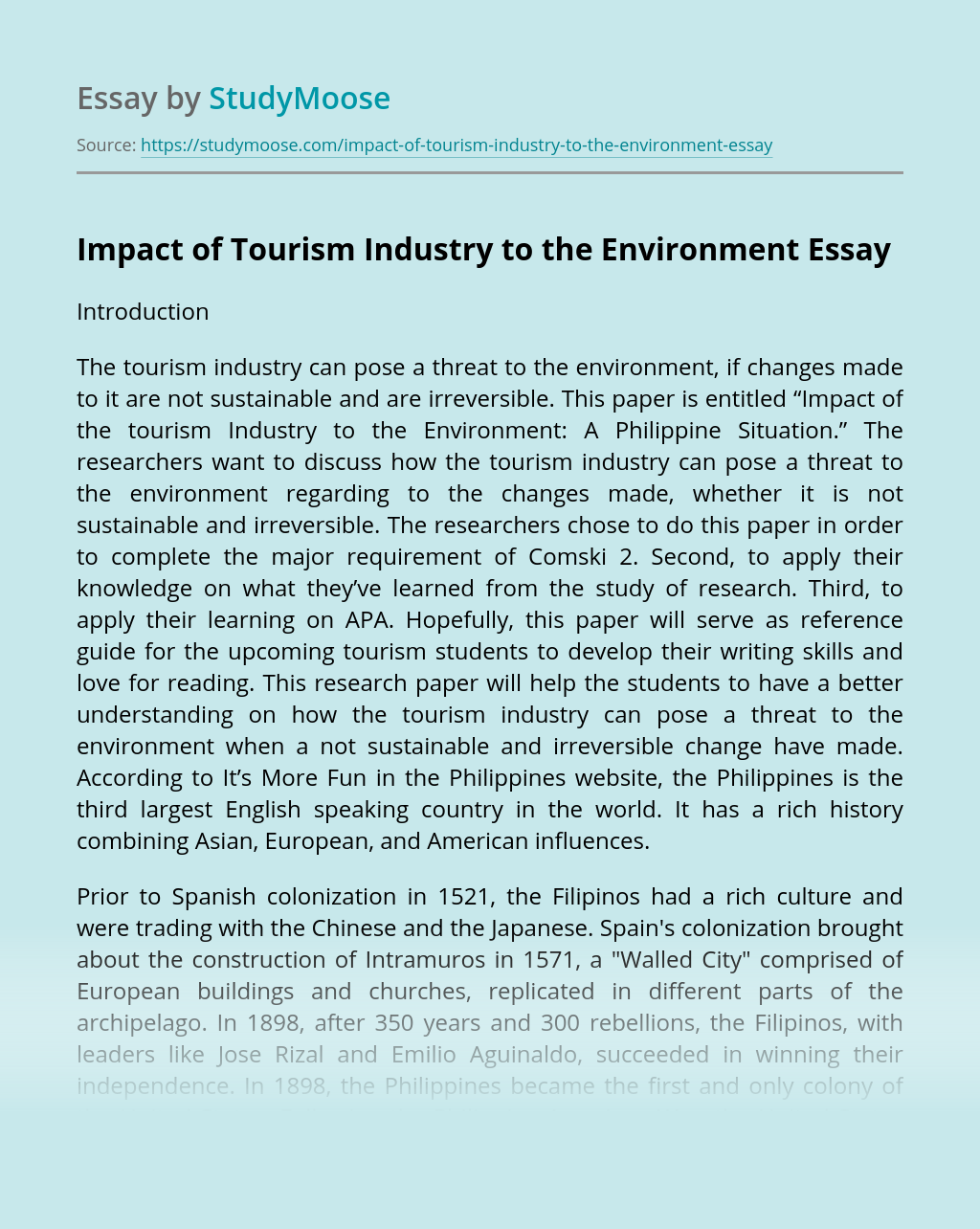 Impact of Tourism Industry to the Environment