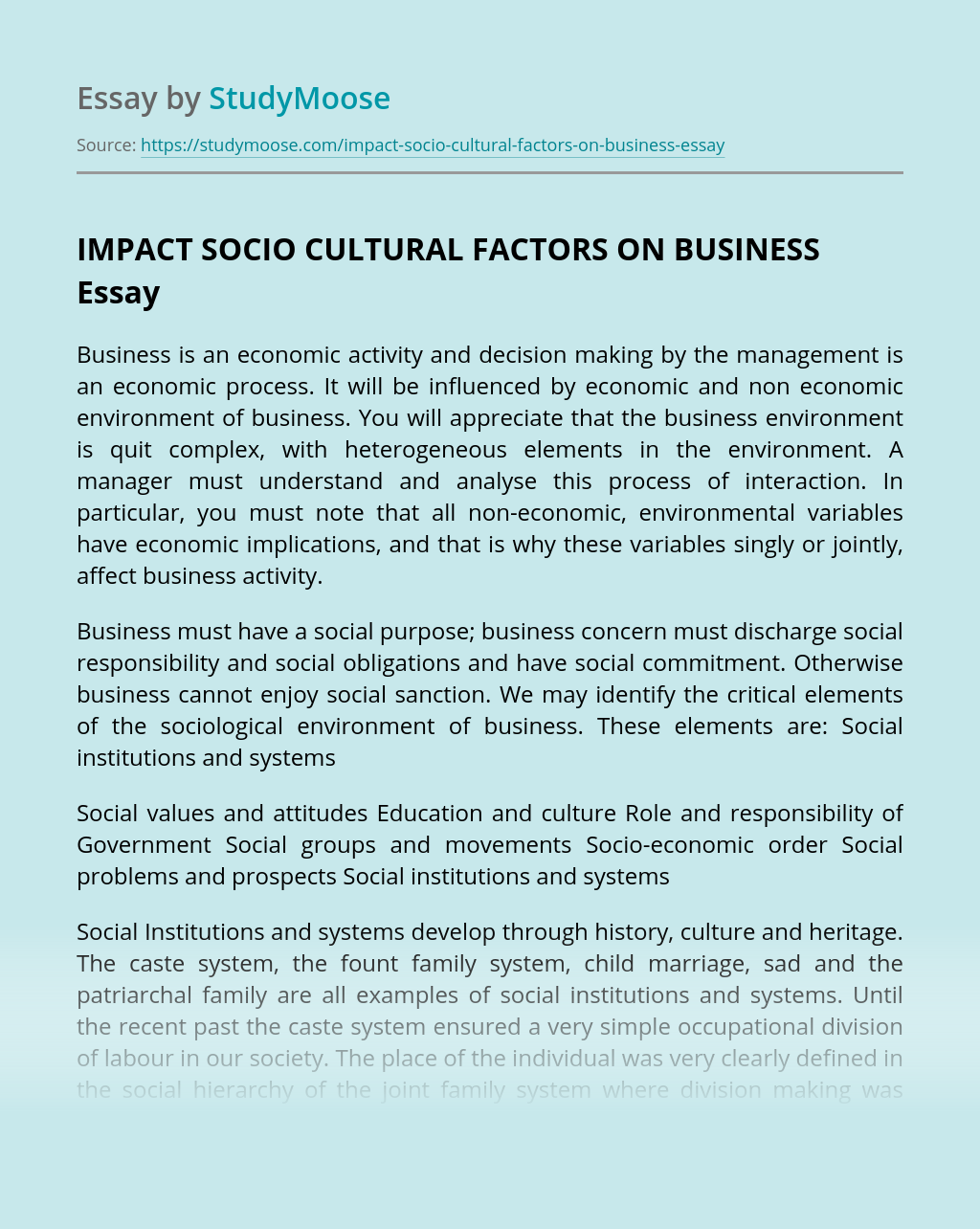 IMPACT SOCIO CULTURAL FACTORS ON BUSINESS