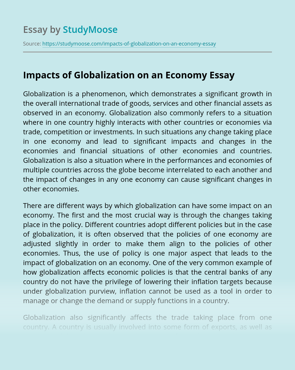Impacts of Globalization on an Economy