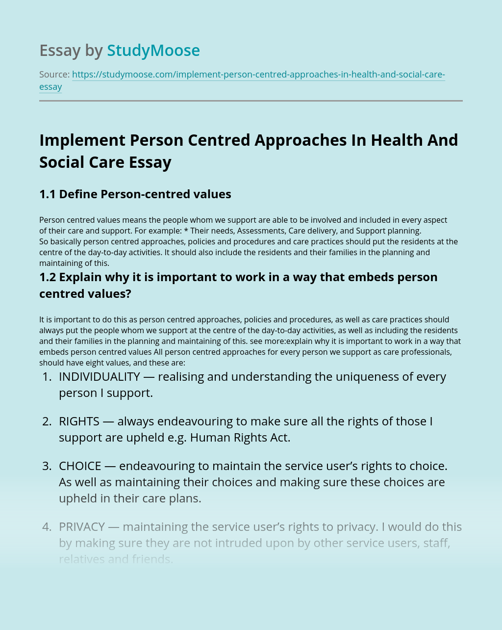 Implement Person Centred Approaches In Health And Social Care