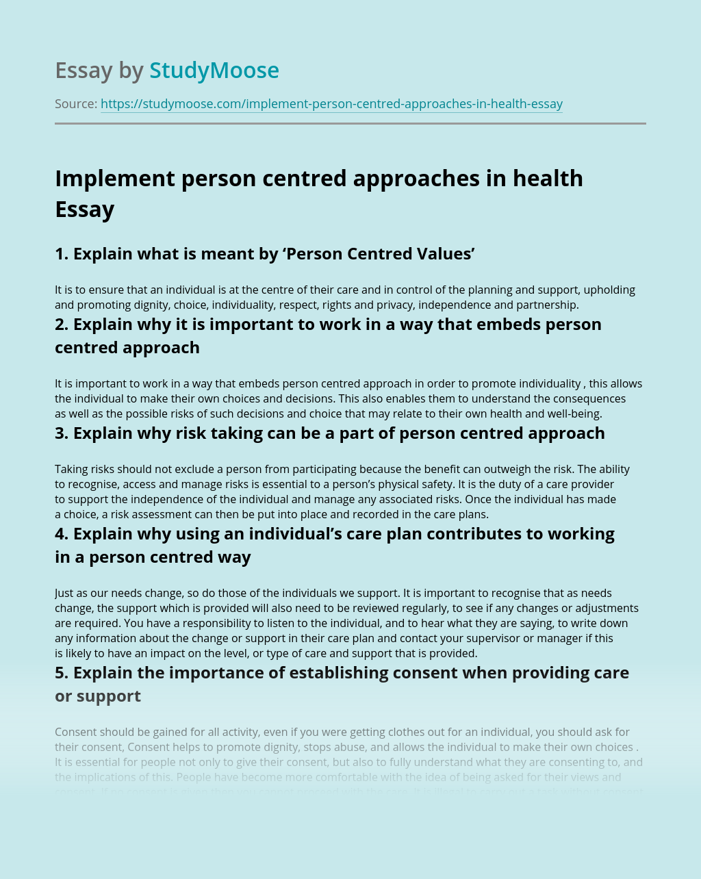 Implement person centred approaches in health