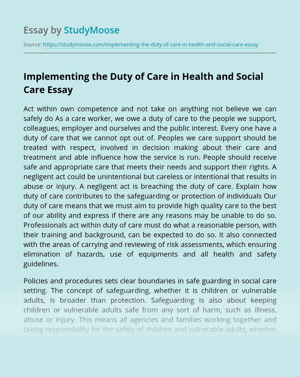 Implementing the Duty of Care in Health and Social Care