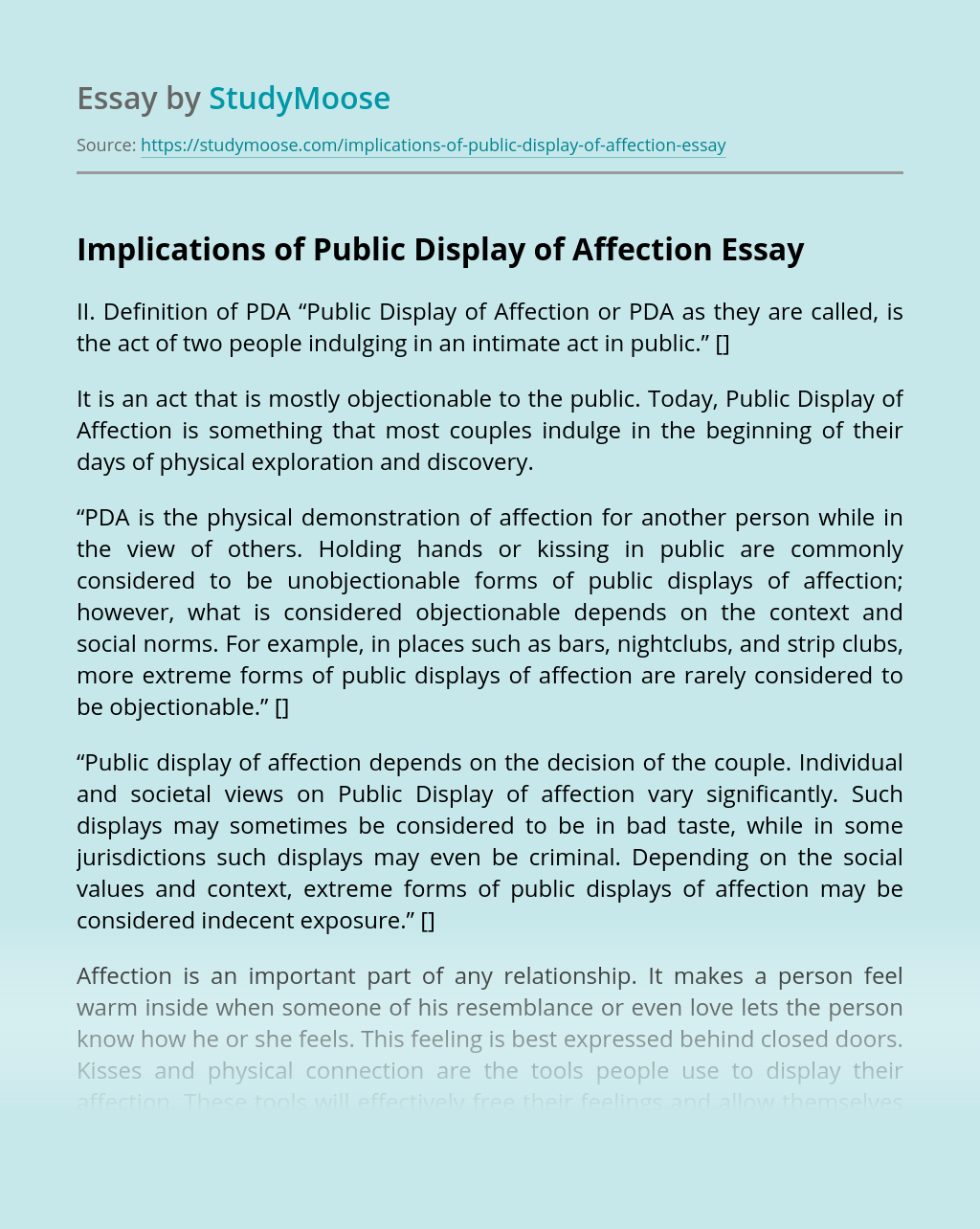 Implications of Public Display of Affection