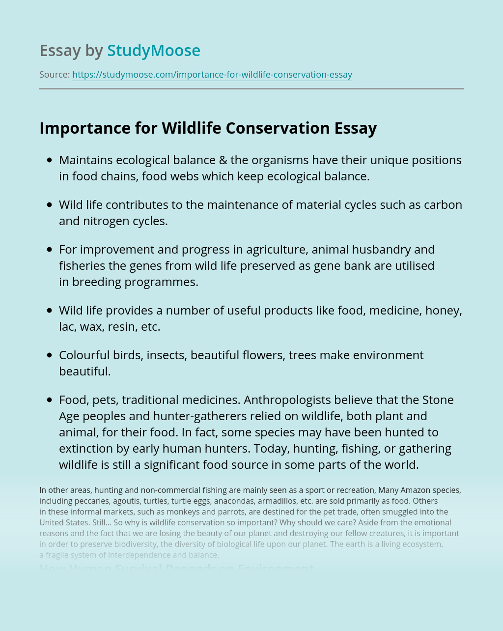 Importance for Wildlife Conservation