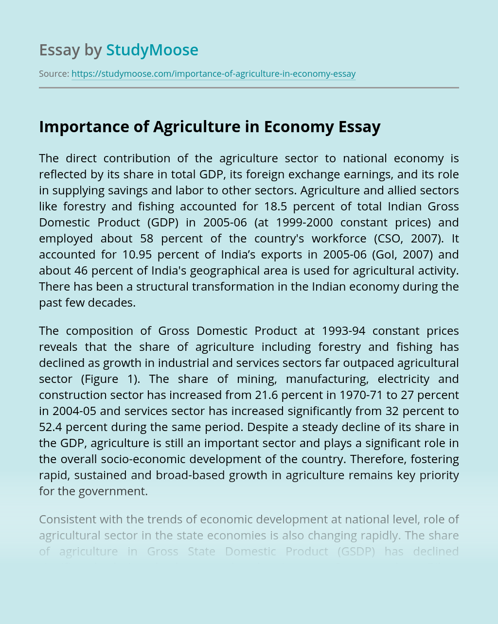 Importance of Agriculture in Economy