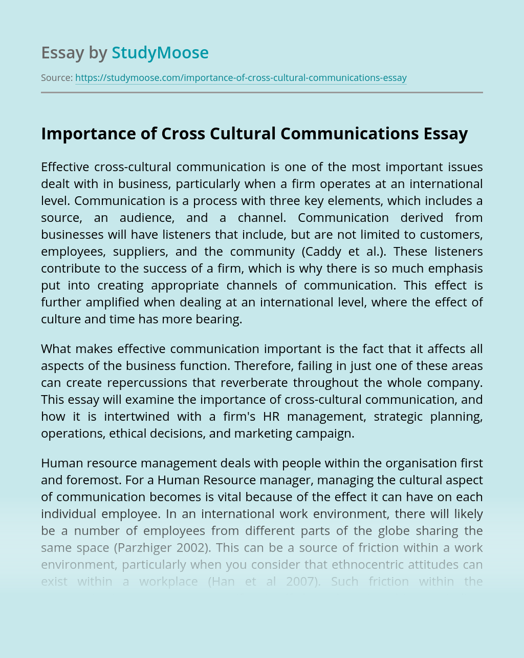 Importance of Cross Cultural Communications
