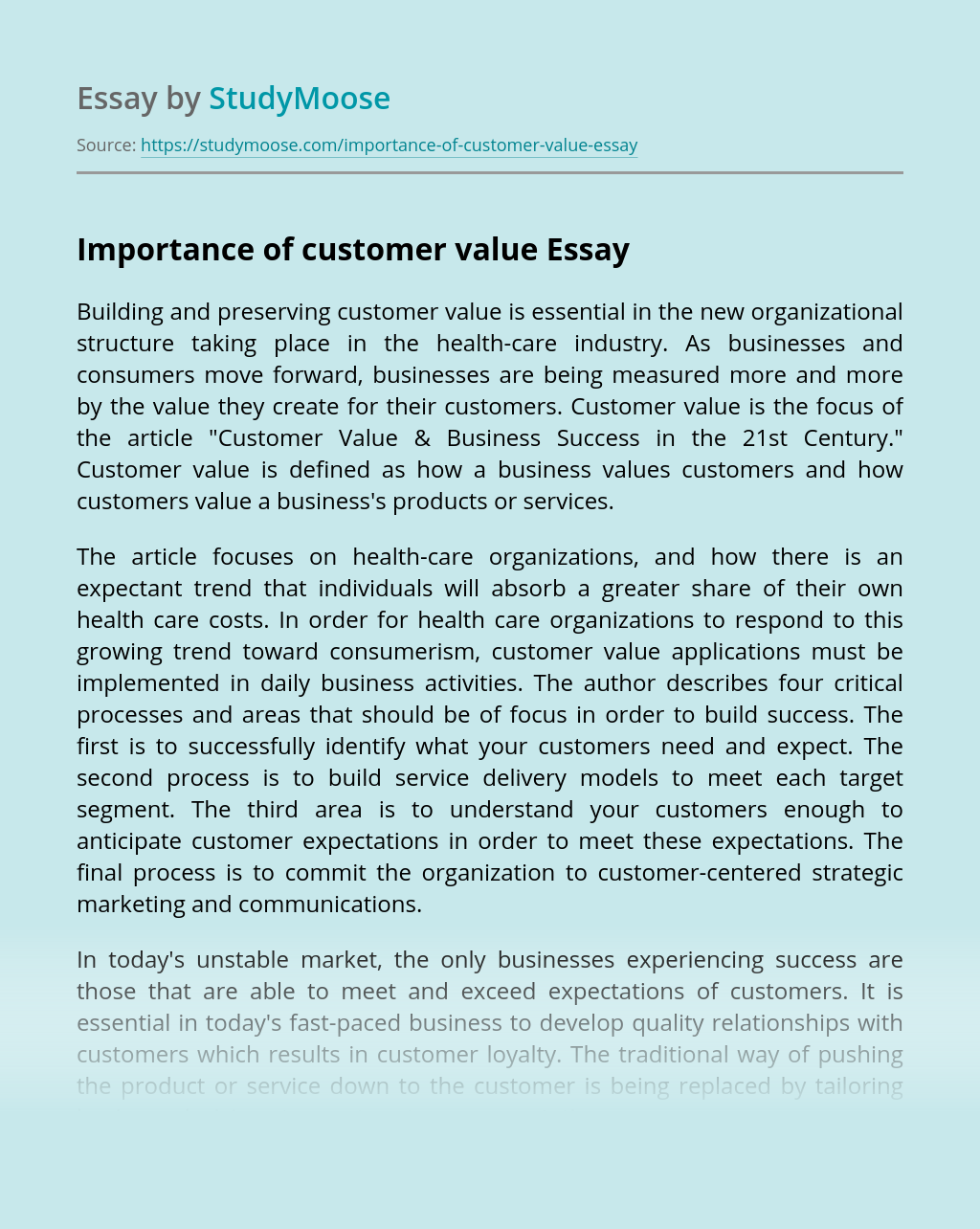 Importance of customer value