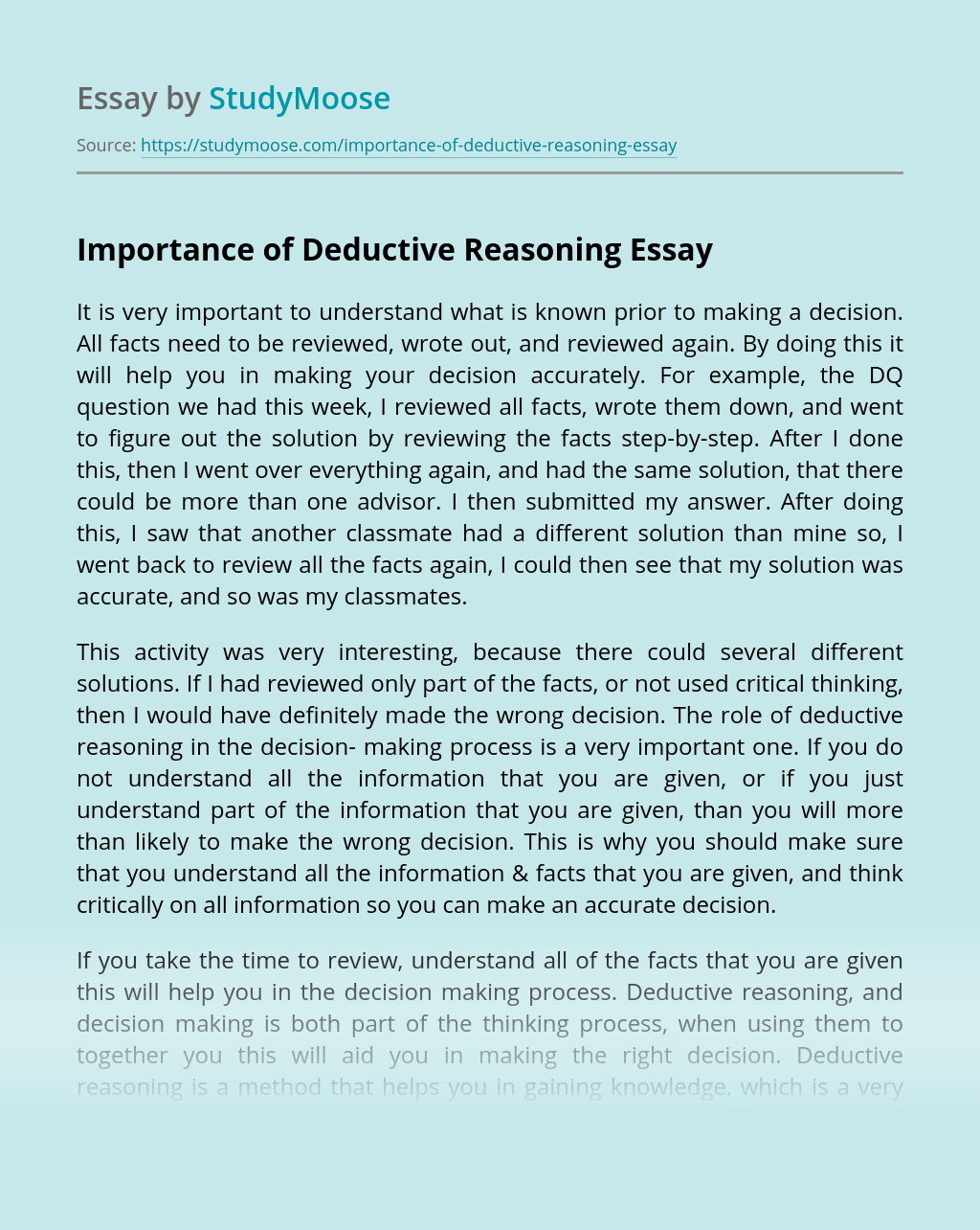 Importance of Deductive Reasoning