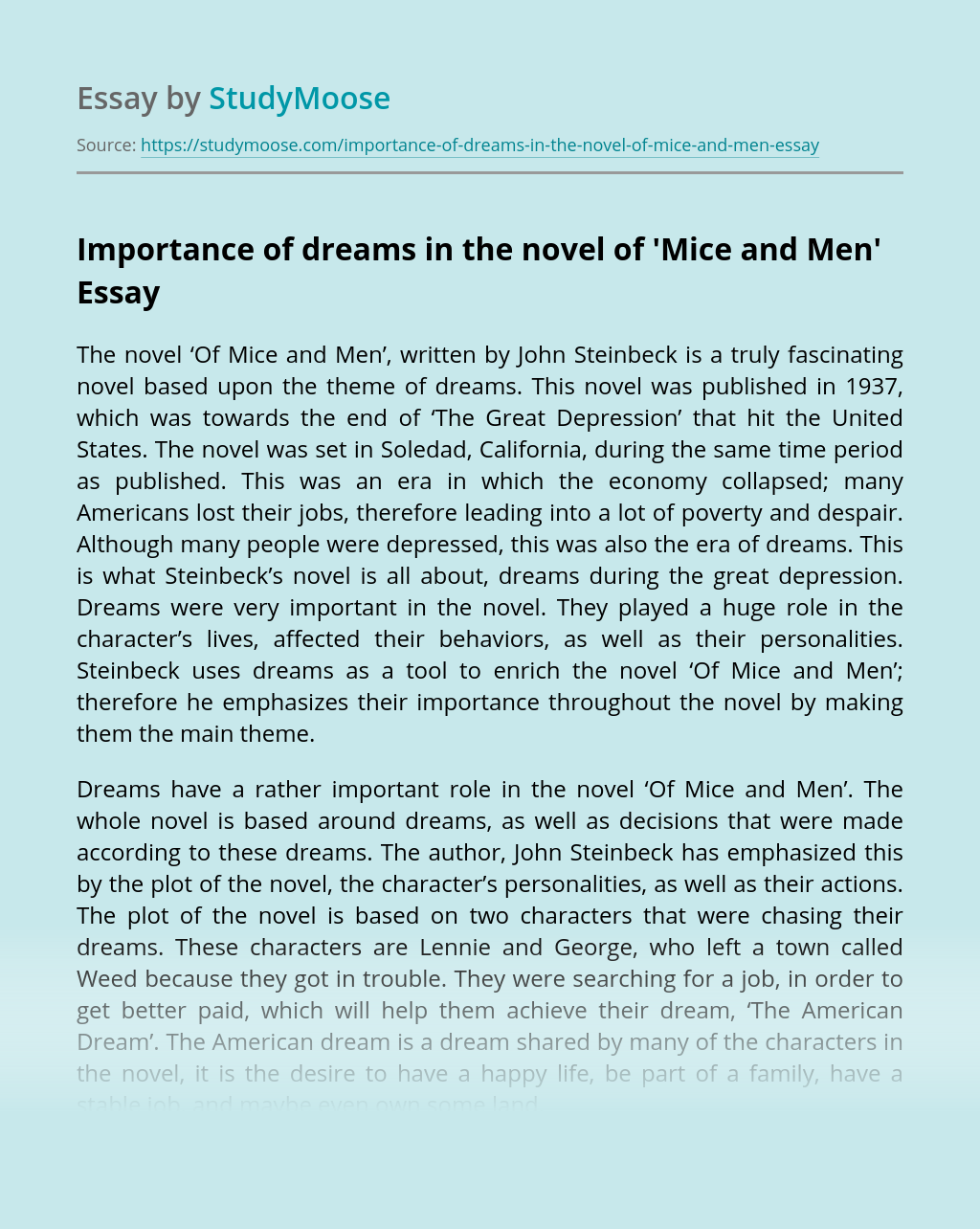 Importance of dreams in the novel of 'Mice and Men'