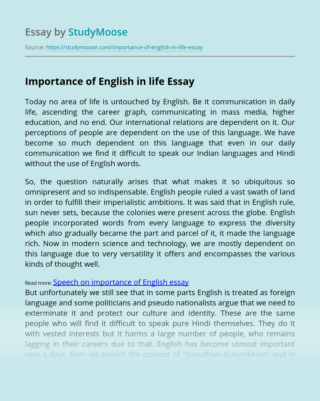 Importance of English in life