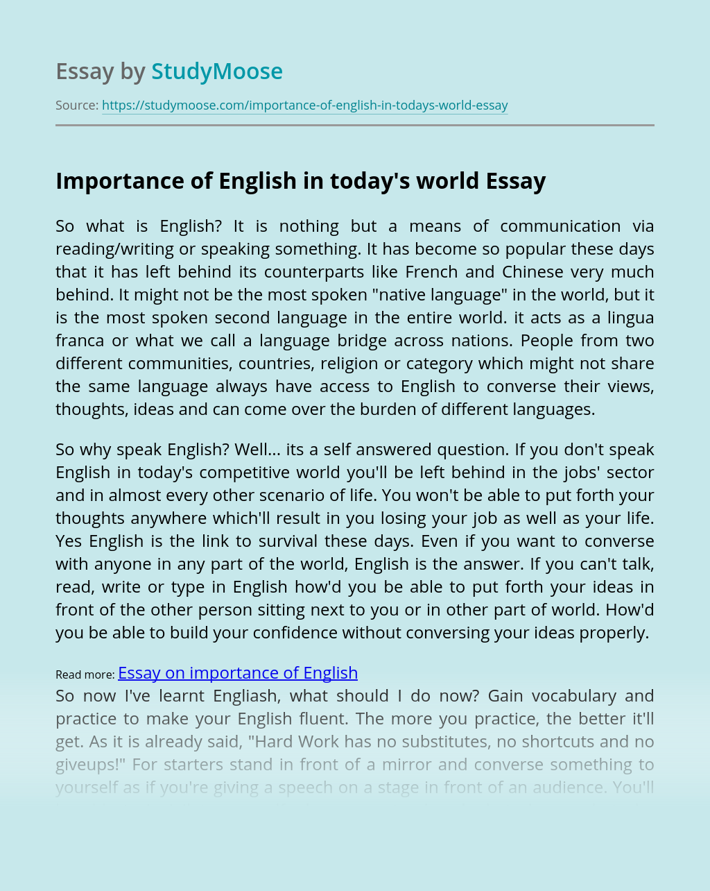Importance of English in today's world