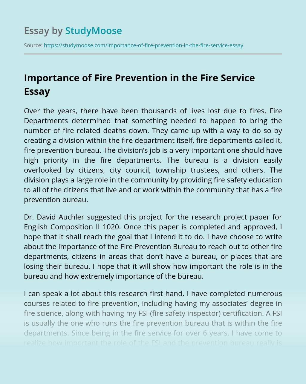 Importance of Fire Prevention in the Fire Service