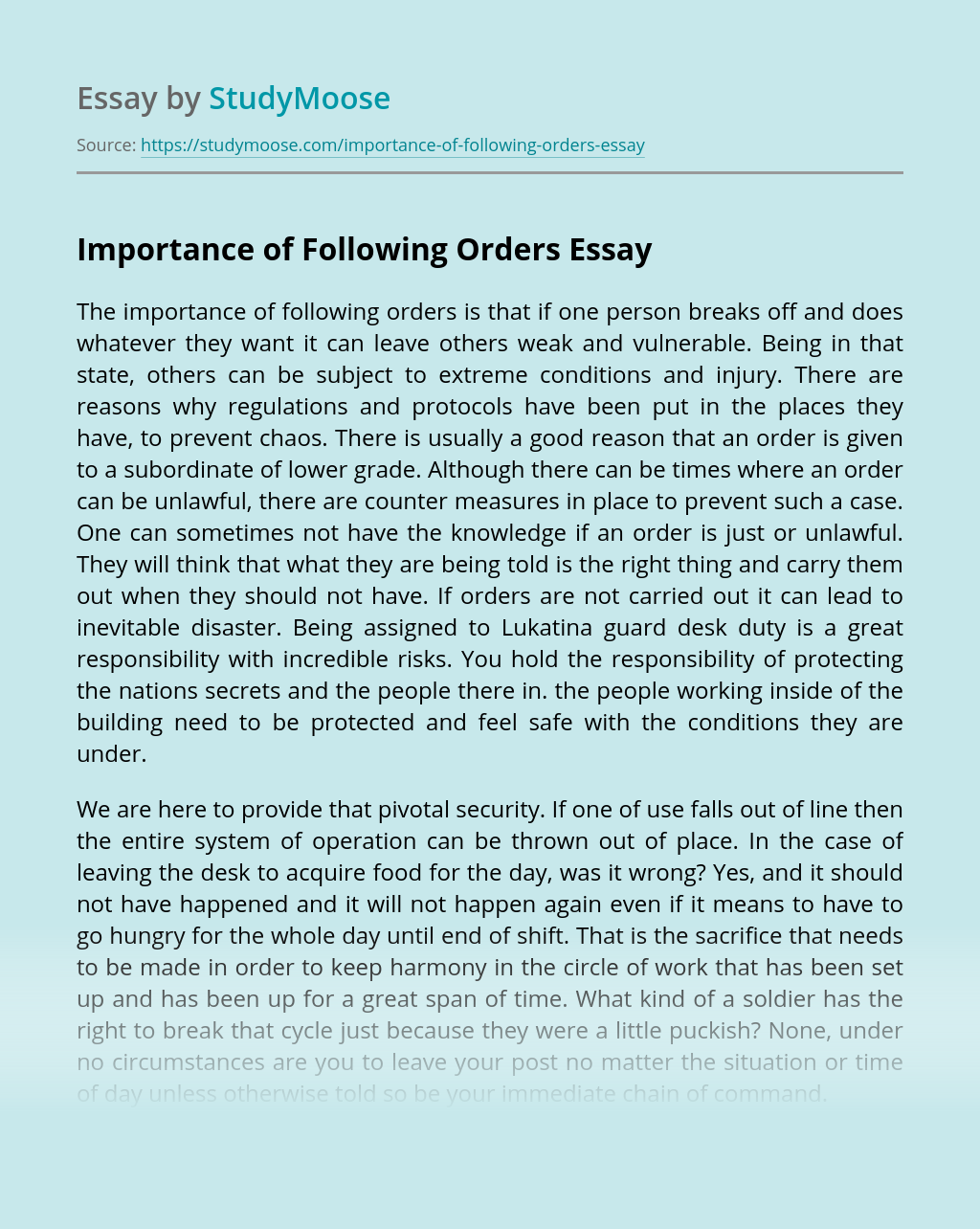 Importance of Following Orders
