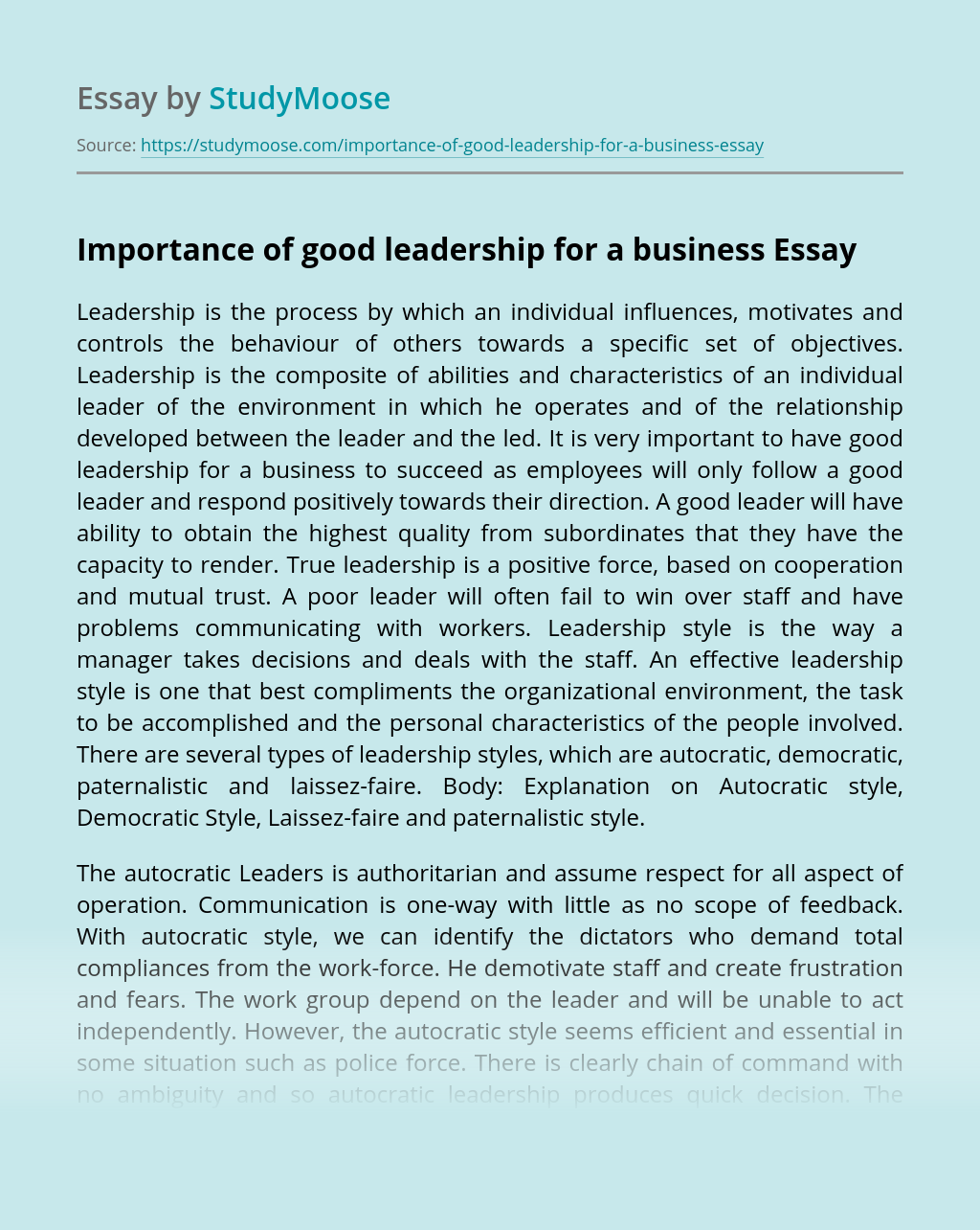 Importance of good leadership for a business