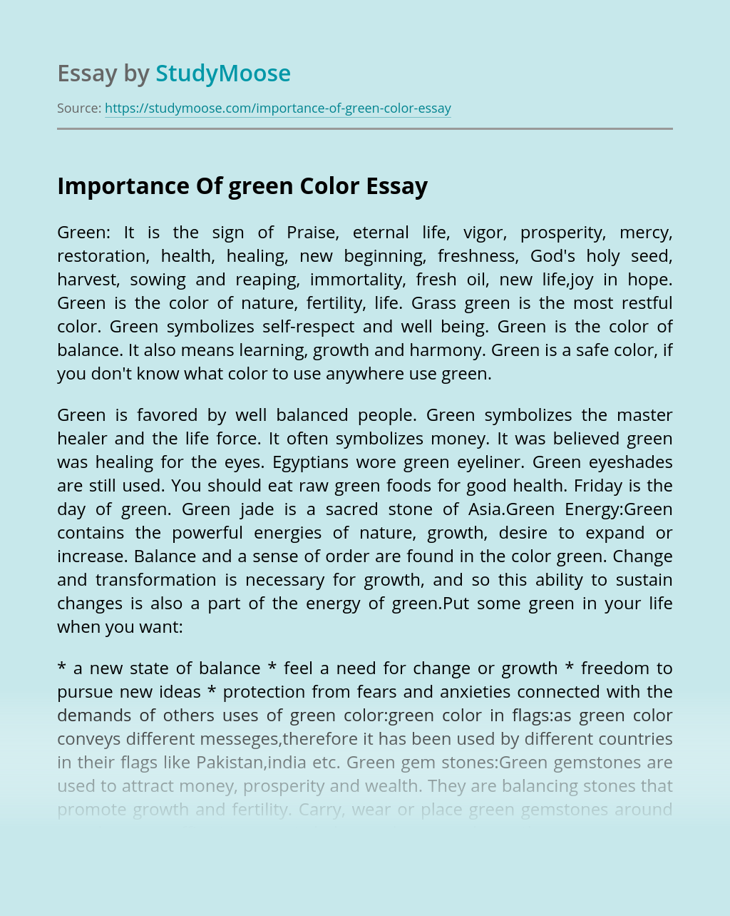 Importance Of green Color