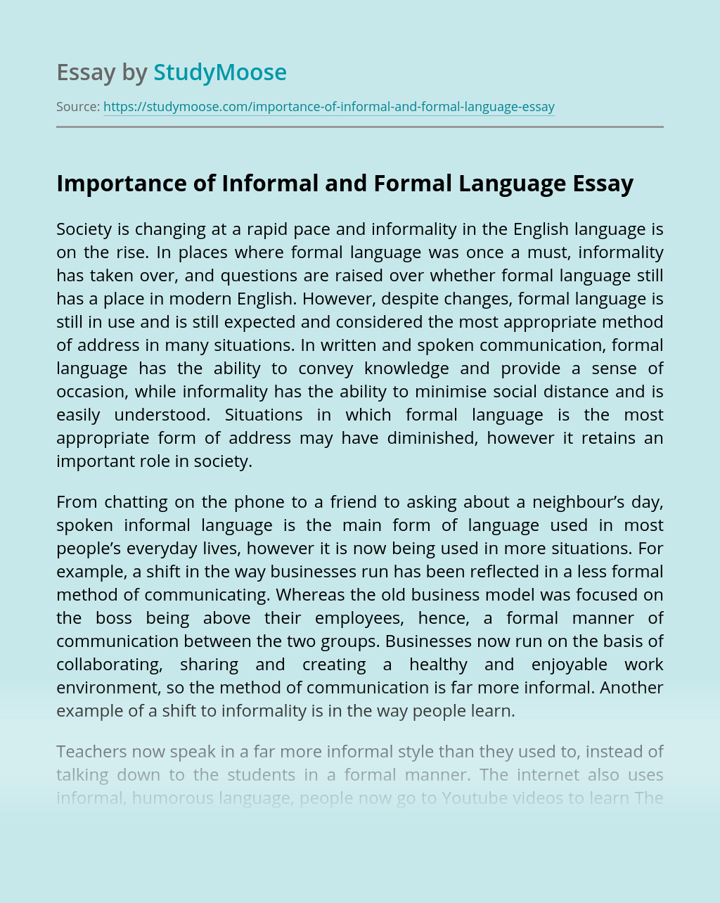 Importance of Informal and Formal Language