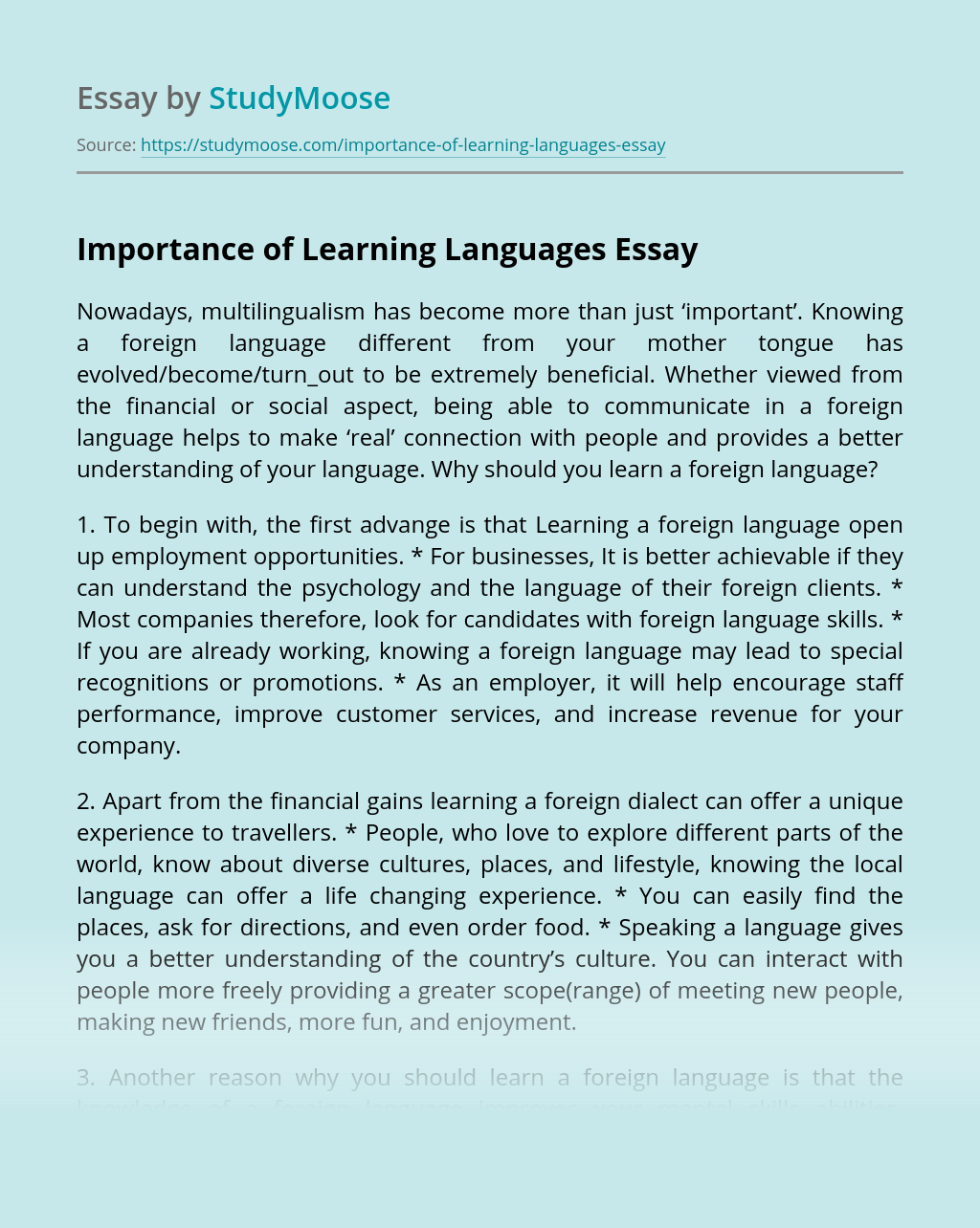 Importance of Learning Languages