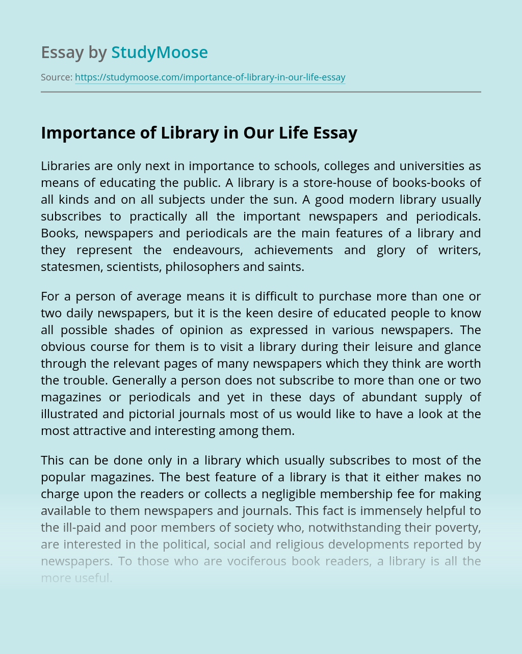 Importance of Library in Our Life