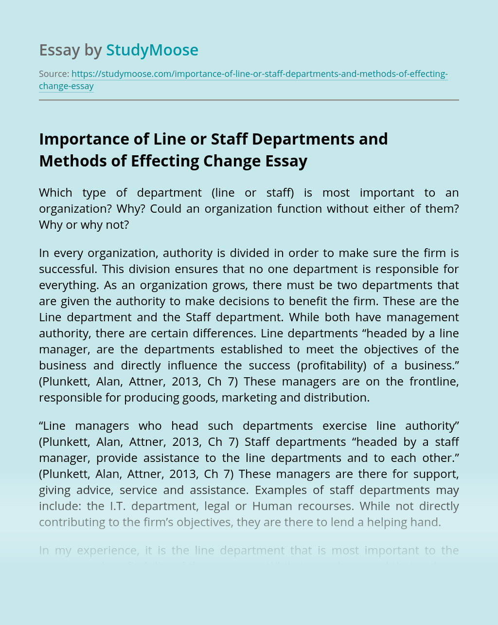 Importance of Line or Staff Departments and Methods of Effecting Change