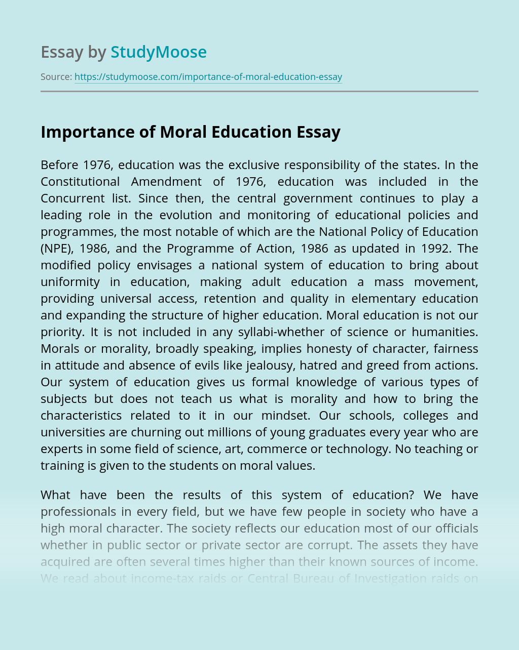 Importance of Moral Education