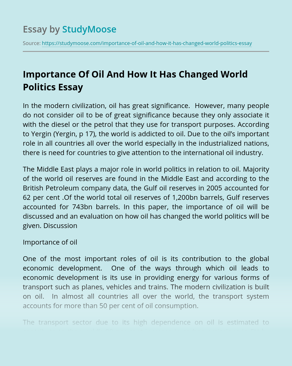 Importance Of Oil And How It Has Changed World Politics
