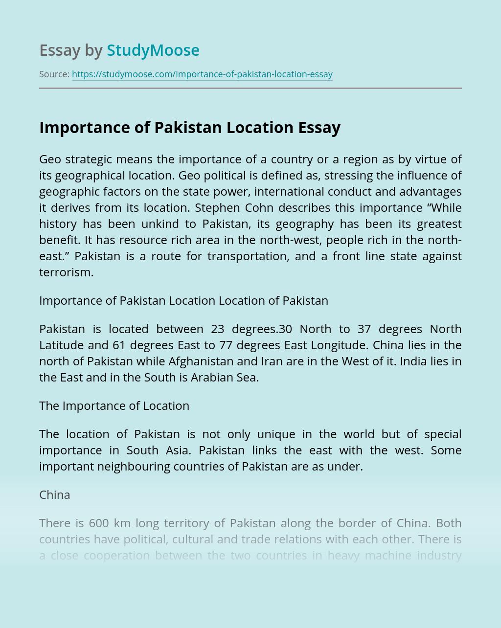 Importance of Pakistan Location