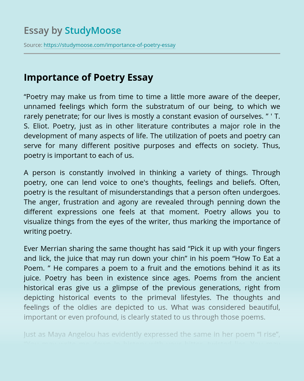 Importance of Poetry