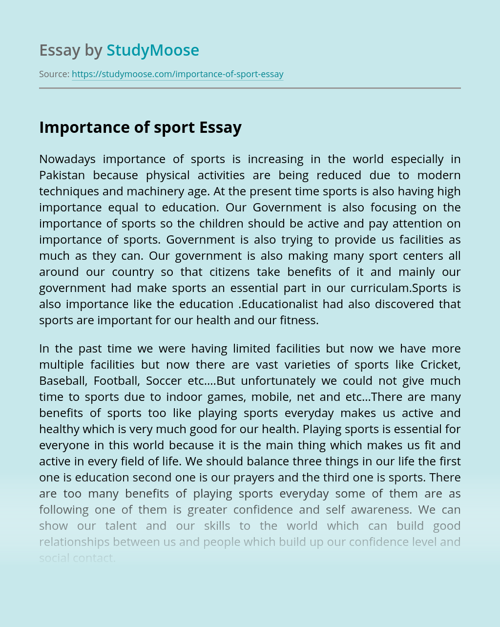 Importance of sport