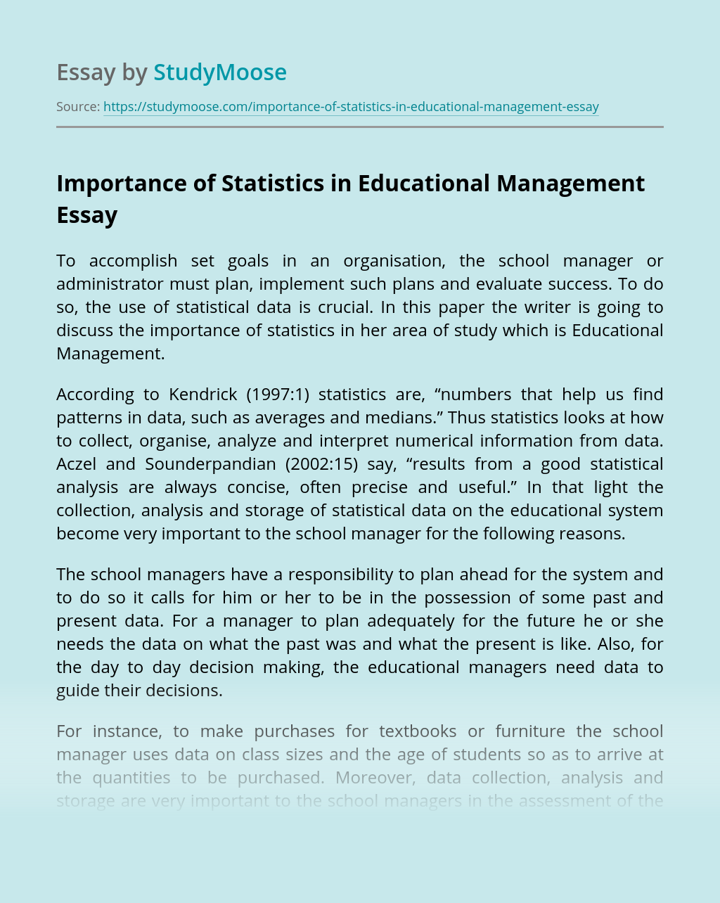 Importance of Statistics in Educational Management