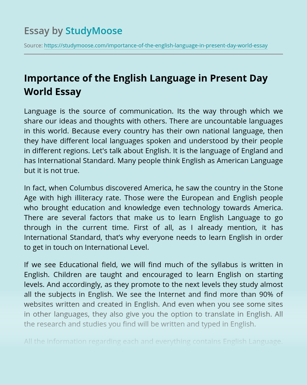 Importance of the English Language in Present Day World