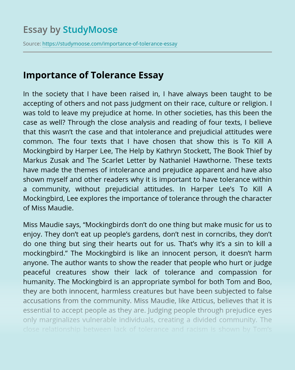 Importance of Tolerance