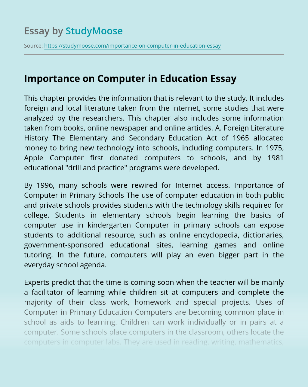 Importance on Computer in Education