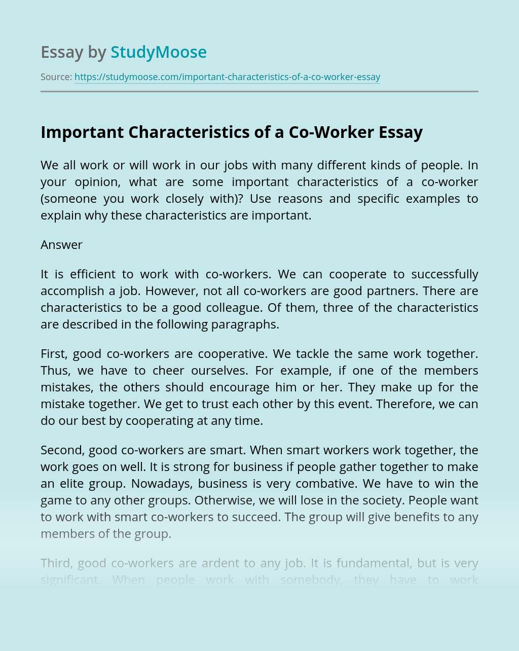 Important Characteristics of a Co-Worker