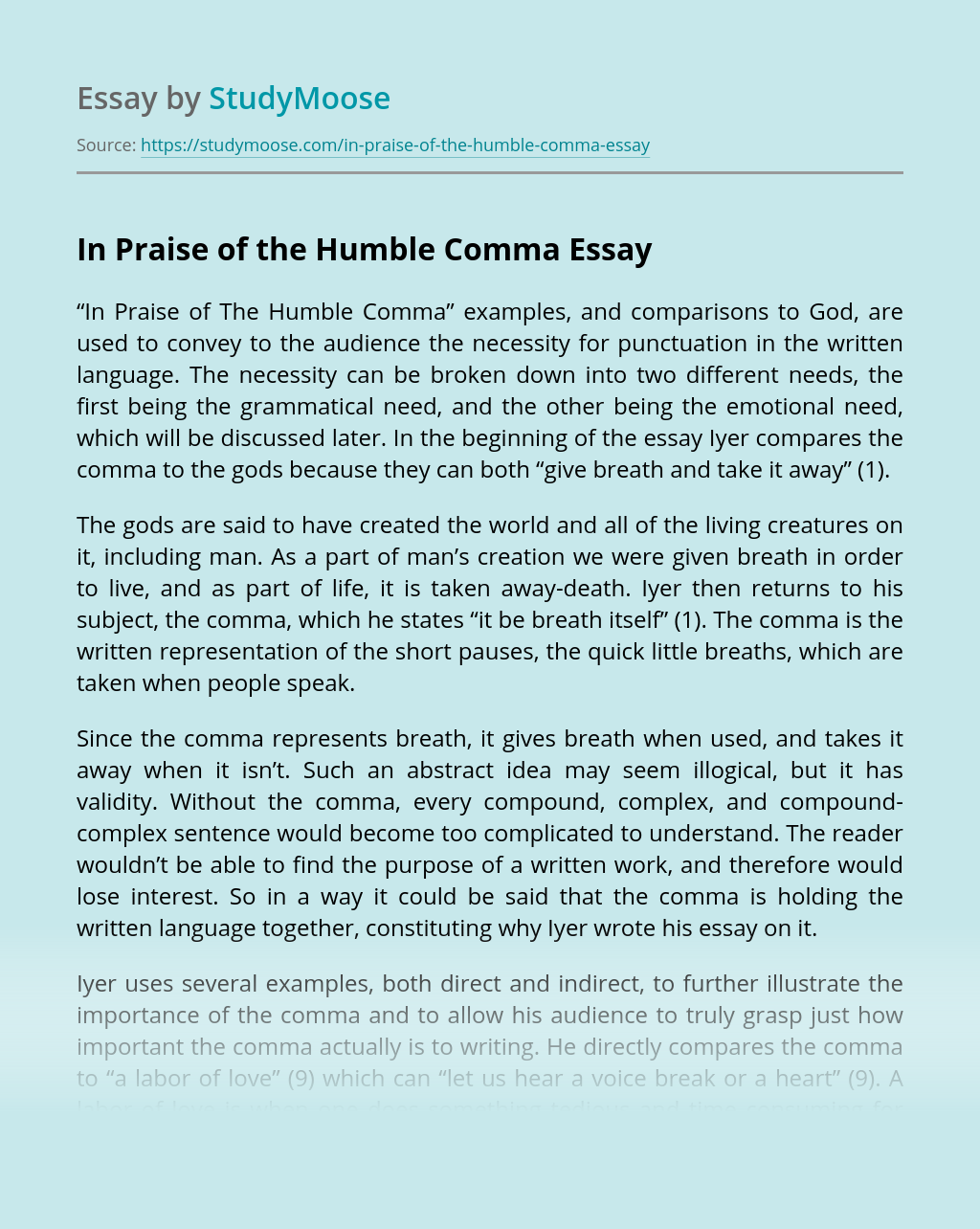 In Praise of the Humble Comma