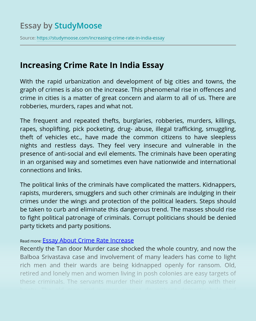 Increasing Crime Rate In India