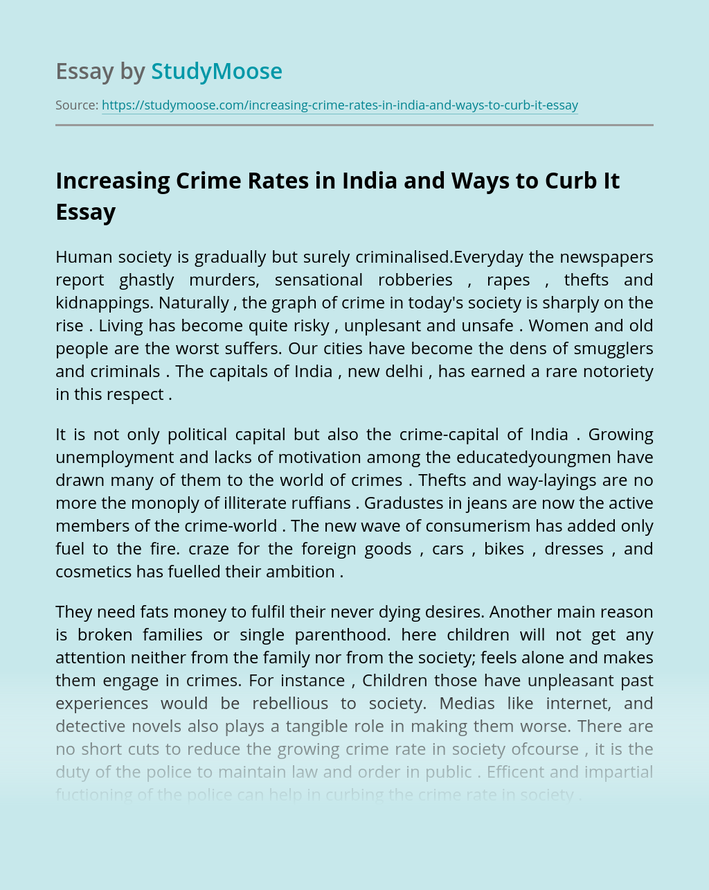 Increasing Crime Rates in India and Ways to Curb It