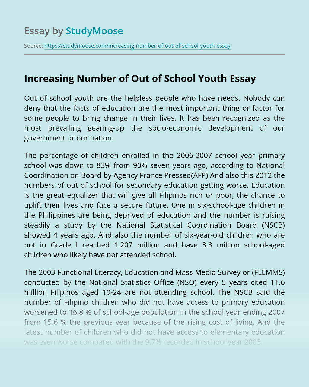Increasing Number of Out of School Youth