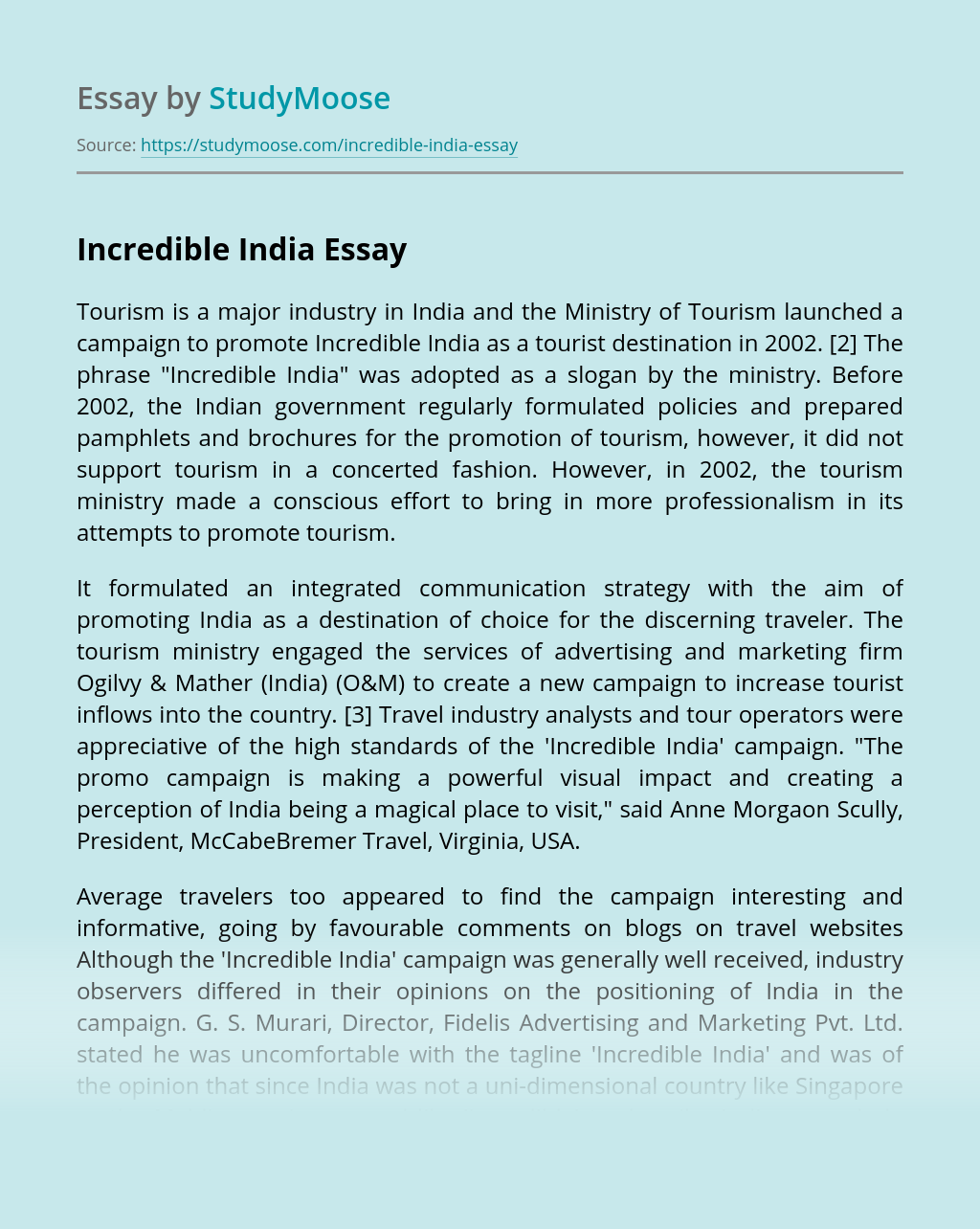 Essay on Incredible India - Words