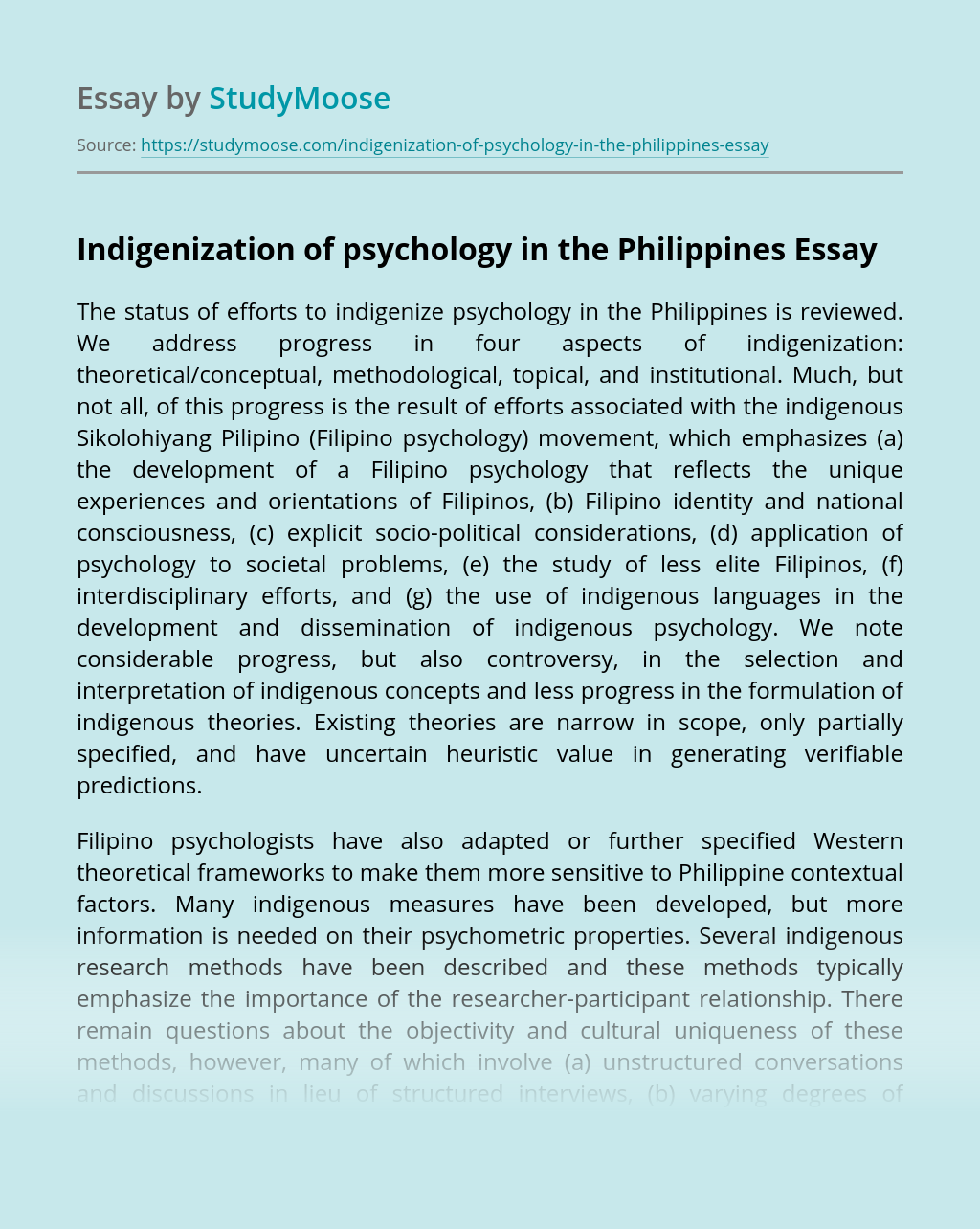 Indigenization of psychology in the Philippines