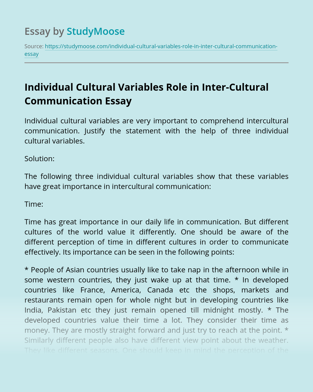 Individual Cultural Variables Role in Inter-Cultural Communication