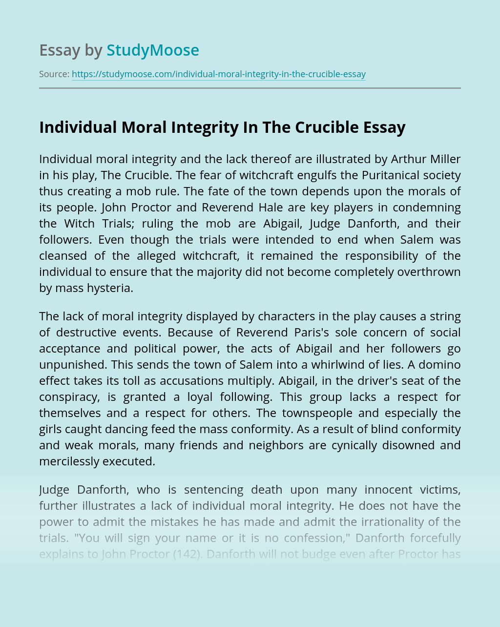 Individual Moral Integrity In The Crucible