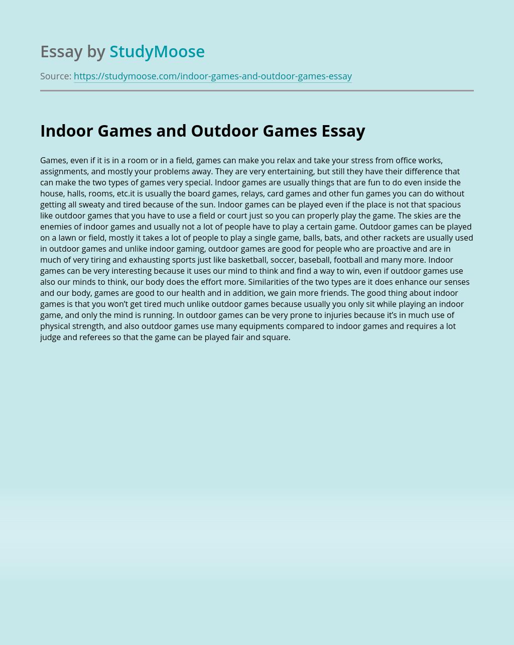 Indoor Games and Outdoor Games