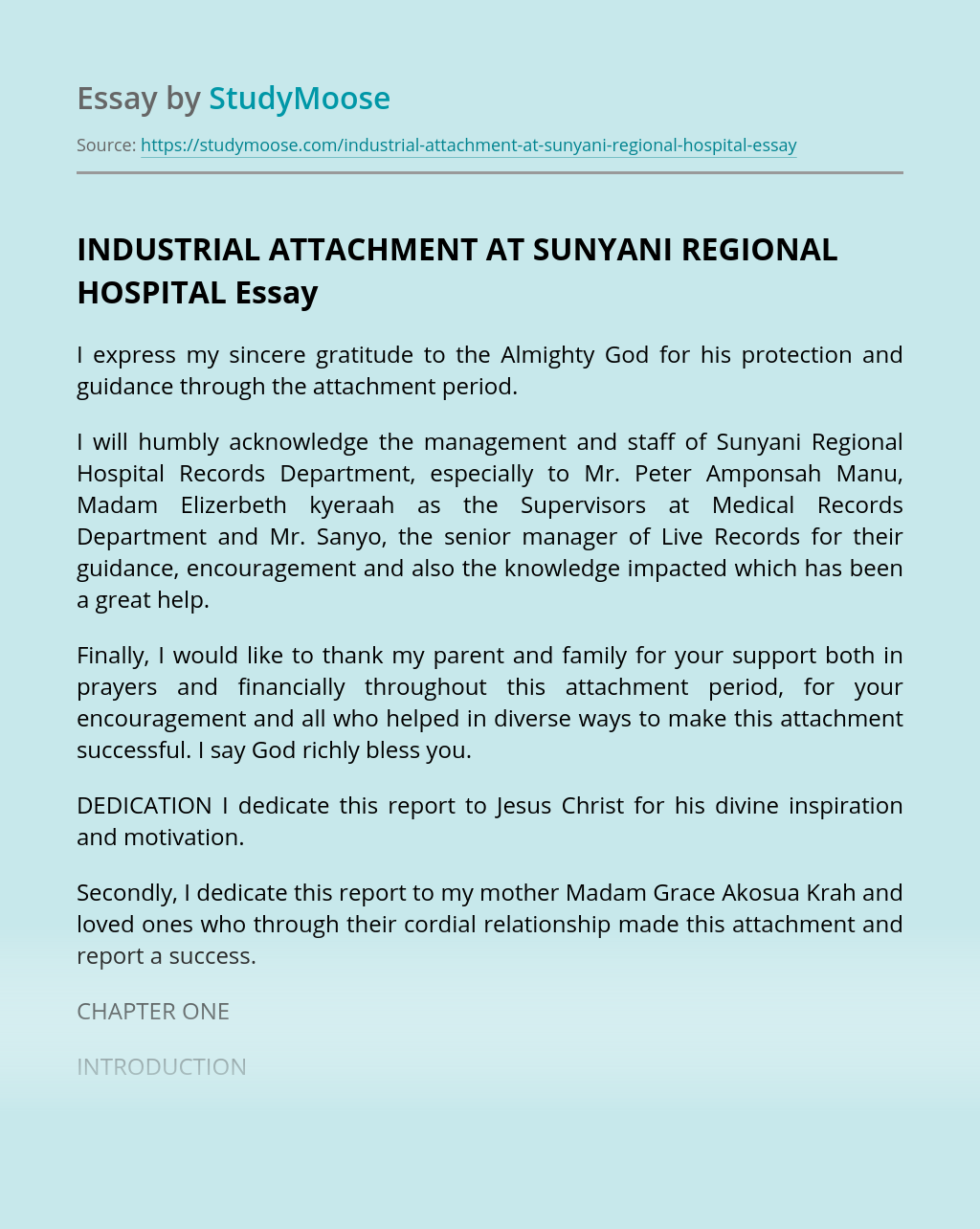 INDUSTRIAL ATTACHMENT AT SUNYANI REGIONAL HOSPITAL