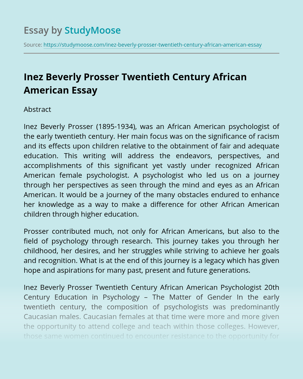 Inez Beverly Prosser Twentieth Century African American