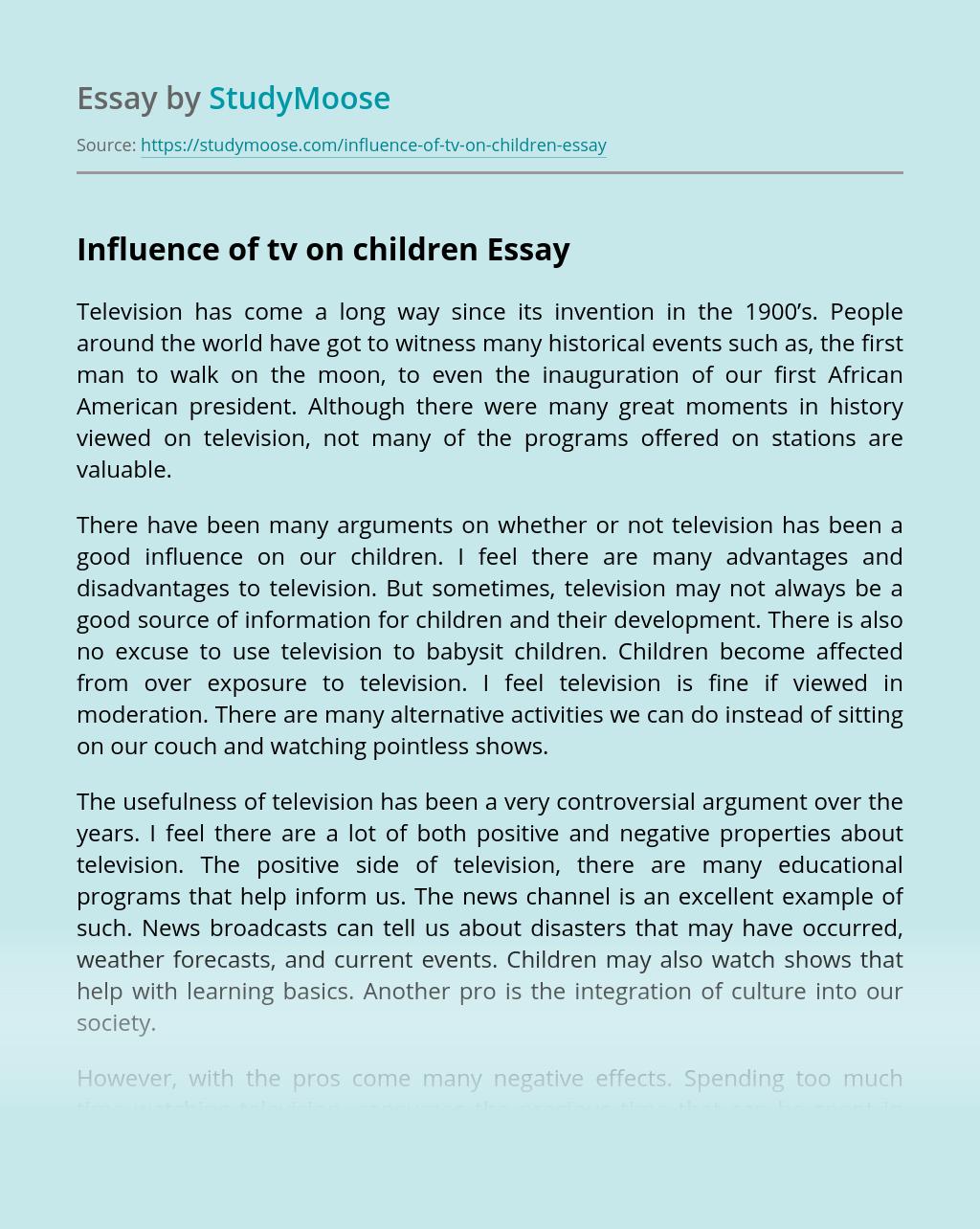 Influence of tv on children
