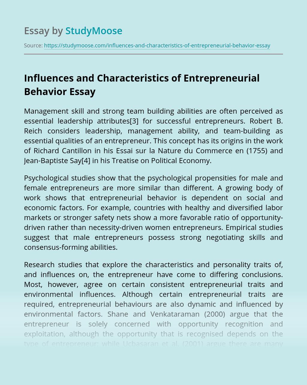 Influences and Characteristics of Entrepreneurial Behavior
